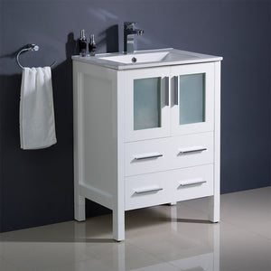 "Fresca Torino 24"" White Modern Bathroom Cabinet w/ Top & Integrated Sink"