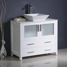 "Load image into Gallery viewer, Fresca Torino 36"" White Modern Bathroom Cabinet w/ Top & Vessel Sink"