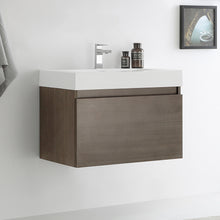 "Load image into Gallery viewer, Fresca Mezzo 30"" Gray Oak Wall Hung Modern Bathroom Cabinet w/ Integrated Sink"