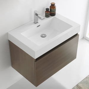 "Fresca Mezzo 30"" Gray Oak Wall Hung Modern Bathroom Cabinet w/ Integrated Sink"
