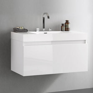 "Fresca Mezzo 39"" White Modern Bathroom Cabinet w/ Integrated Sink"