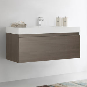 "Fresca Mezzo 48"" Gray Oak Wall Hung Modern Bathroom Cabinet w/ Integrated Sink"