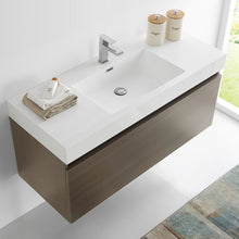 "Load image into Gallery viewer, Fresca Mezzo 48"" Gray Oak Wall Hung Modern Bathroom Cabinet w/ Integrated Sink"