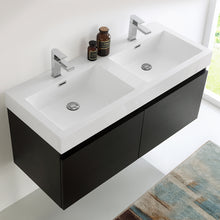 "Load image into Gallery viewer, Fresca Mezzo 48"" Black Wall Hung Double Sink Modern Bathroom Cabinet w/ Integrated Sink"