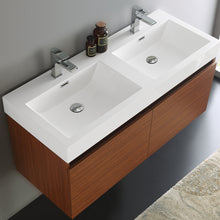 "Load image into Gallery viewer, Fresca Mezzo 48"" Teak Wall Hung Double Sink Modern Bathroom Cabinet w/ Integrated Sink"