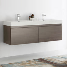 "Load image into Gallery viewer, Fresca Mezzo 60"" Gray Oak Wall Hung Double Sink Modern Bathroom Cabinet w/ Integrated Sink"