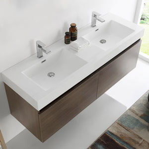 "Fresca Mezzo 60"" Gray Oak Wall Hung Double Sink Modern Bathroom Cabinet w/ Integrated Sink"