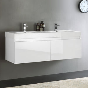 "Fresca Mezzo 60"" White Wall Hung Double Sink Modern Bathroom Cabinet w/ Integrated Sink"
