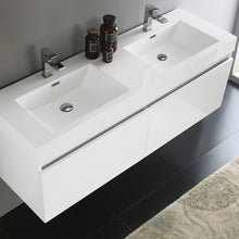 "Load image into Gallery viewer, Fresca Mezzo 60"" White Wall Hung Double Sink Modern Bathroom Cabinet w/ Integrated Sink"