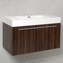"Load image into Gallery viewer, Fresca Vista 36"" Walnut Modern Bathroom Cabinet w/ Integrated Sink"