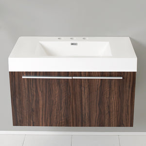 "Fresca Vista 36"" Walnut Modern Bathroom Cabinet w/ Integrated Sink"