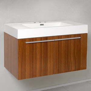 "Fresca Vista 36"" Teak Modern Bathroom Cabinet w/ Integrated Sink"