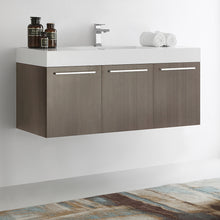 "Load image into Gallery viewer, Fresca Vista 48"" Gray Oak Wall Hung Modern Bathroom Cabinet w/ Integrated Sink"