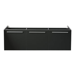 "Fresca Vista 60"" Black Wall Hung Single Sink Modern Bathroom Cabinet"
