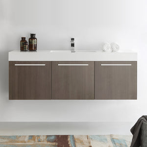 "Fresca Vista 60"" Gray Oak Wall Hung Single Sink Modern Bathroom Cabinet w/ Integrated Sink"