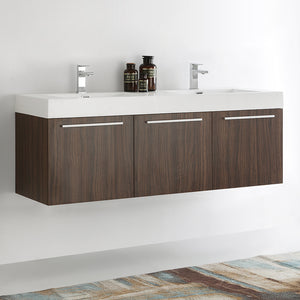 "Fresca Vista 60"" Walnut Wall Hung Double Sink Modern Bathroom Cabinet w/ Integrated Sink"
