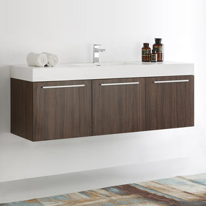 "Fresca Vista 60"" Walnut Wall Hung Single Sink Modern Bathroom Cabinet w/ Integrated Sink"