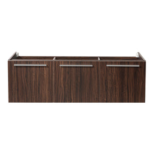 "Fresca Vista 60"" Walnut Wall Hung Single Sink Modern Bathroom Cabinet"