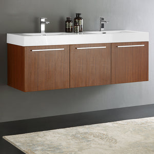 "Fresca Vista 60"" Teak Wall Hung Double Sink Modern Bathroom Cabinet w/ Integrated Sink"