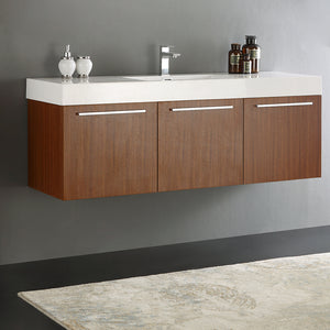 "Fresca Vista 60"" Teak Wall Hung Single Sink Modern Bathroom Cabinet w/ Integrated Sink"
