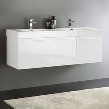 "Load image into Gallery viewer, Fresca Vista 60"" White Wall Hung Double Sink Modern Bathroom Cabinet w/ Integrated Sink"