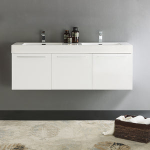 "Fresca Vista 60"" White Wall Hung Double Sink Modern Bathroom Cabinet w/ Integrated Sink"