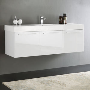 "Fresca Vista 60"" White Wall Hung Single Sink Modern Bathroom Cabinet w/ Integrated Sink"