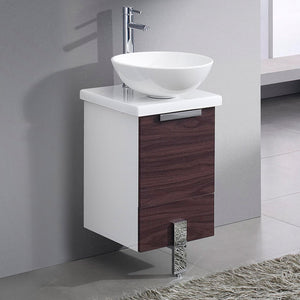 "Fresca Adour 16"" Dark Walnut Modern Bathroom Cabinet w/ Top & Vessel Sink"