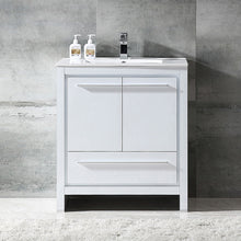 "Load image into Gallery viewer, Fresca Allier 30"" White Modern Bathroom Cabinet w/ Sink"
