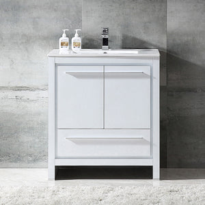 "Fresca Allier 30"" White Modern Bathroom Cabinet w/ Sink"