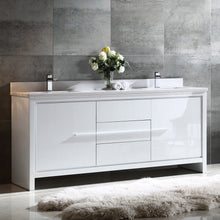 "Load image into Gallery viewer, Fresca Allier 72"" White Modern Double Sink Bathroom Cabinet w/ Top & Sinks"