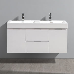 "Fresca Valencia 48"" Glossy White Wall Hung Double Sink Modern Bathroom Vanity"