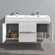 "Load image into Gallery viewer, Fresca Valencia 48"" Glossy White Wall Hung Double Sink Modern Bathroom Vanity"