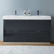 "Load image into Gallery viewer, Fresca Valencia 60"" Dark Slate Gray Free Standing Double Sink Modern Bathroom Vanity"