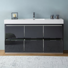 "Load image into Gallery viewer, Fresca Valencia 60"" Dark Slate Gray Free Standing Modern Bathroom Vanity"