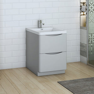 "Fresca Tuscany 24"" Glossy Gray Free Standing Modern Bathroom Cabinet w/ Integrated Sink"