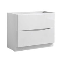 "Load image into Gallery viewer, Fresca Tuscany 40"" Glossy White Free Standing Modern Bathroom Cabinet"