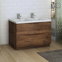 "Load image into Gallery viewer, Fresca Tuscany 48"" Rosewood Free Standing Modern Bathroom Cabinet w/ Integrated Double Sink"