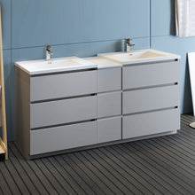 "Load image into Gallery viewer, Fresca Lazzaro 72"" Gray Free Standing Double Sink Modern Bathroom Cabinet w/ Integrated Sinks"