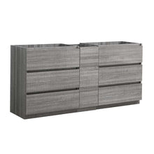 "Load image into Gallery viewer, Fresca Lazzaro 72"" Glossy Ash Gray Free Standing Double Sink Modern Bathroom Cabinet"