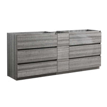 "Load image into Gallery viewer, Fresca Lazzaro 84"" Glossy Ash Gray Free Standing Double Sink Modern Bathroom Cabinet"