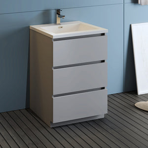 "Fresca Lazzaro 24"" Gray Free Standing Modern Bathroom Cabinet w/ Integrated Sink"