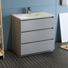 "Load image into Gallery viewer, Fresca Lazzaro 36"" Gray Free Standing Modern Bathroom Cabinet w/ Integrated Sink"