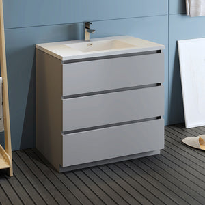 "Fresca Lazzaro 36"" Gray Free Standing Modern Bathroom Cabinet w/ Integrated Sink"