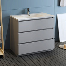 "Load image into Gallery viewer, Fresca Lazzaro 42"" Gray Free Standing Modern Bathroom Cabinet w/ Integrated Sink"