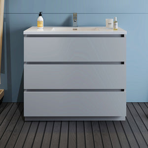 "Fresca Lazzaro 42"" Gray Free Standing Modern Bathroom Cabinet w/ Integrated Sink"
