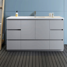 "Load image into Gallery viewer, Fresca Lazzaro 60"" Gray Free Standing Modern Bathroom Cabinet w/ Integrated Single Sink"