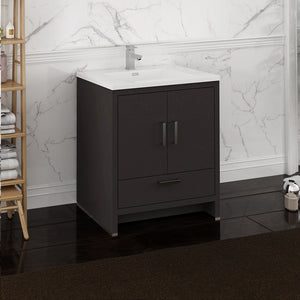 "Fresca Imperia 30"" Dark Gray Oak Free Standing Modern Bathroom Cabinet w/ Integrated Sink"