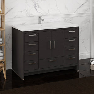 "Fresca Imperia 48"" Dark Gray Oak Free Standing Modern Bathroom Cabinet w/ Integrated Sink"