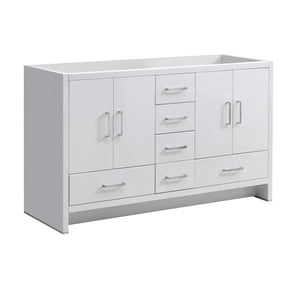 "Fresca Imperia 60"" Glossy White Free Standing Double Sink Modern Bathroom Cabinet"